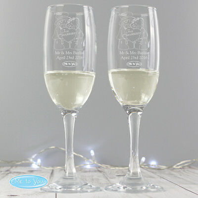 Personalised Me To You Engraved Wedding Pair of Flutes Gift for Bride & Groom