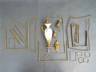 Job lot of old decorative clock case parts - parts spares craft work