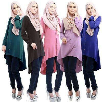 Islamic Women Modest Full Cover Muslim Blouse Long Tops Fashion Clothes Z