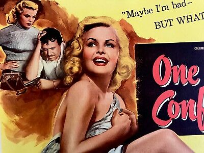One Girl's Confession Half Sheet On Linen Cleo Moore 1953