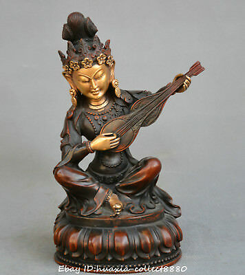 Chinese old Bronze copper gild Wonderful sound Heavenly girl play lute statue