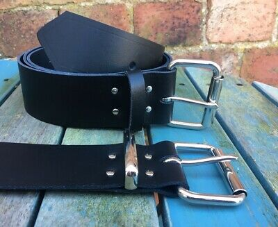 Black Belt 2 Inch Wide 100% Real Leather Handmade Choice of Buckle & Keeper Loop