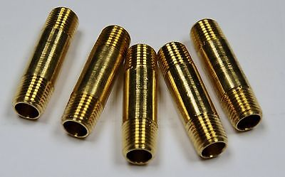 """Brass Fittings: Brass Pipe Nipple, Pipe Size 1/4"""", Length 2"""", QTY. 5"""