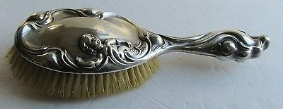 Antique Sterling Silver Hairbrush Art Nouveau w Putti in Relief