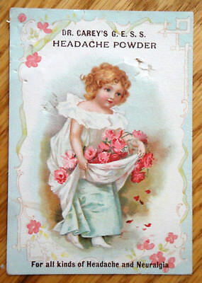 Vintage Dr. Carey's Headache Powder 1890's Victorian Trade Card
