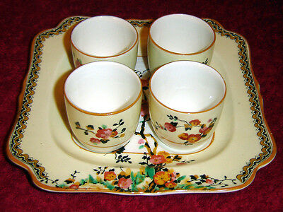 VINTAGE CROWN DUCAL 1920's EGG CUP SET ON STAND/PLATE