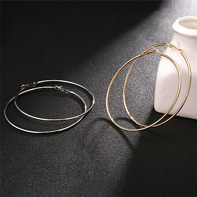 Sexy Oversized Gold Plated Big Circle Hoop Earring Geometric Earrings FO