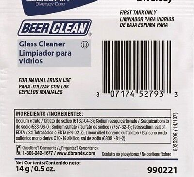 (100 PACKETS) BEER GLASS CLEANER 0.5 oz PACKET 90221 MANUAL BRUSH USA MADE