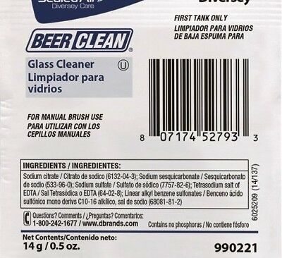 (100 PACKETS) DIVERSEY BEER GLASS CLEANER .5 oz PACKET 90221 MANUAL BRUSH