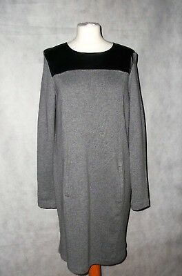 WHISTLES faux leather and jersey slouch dress in grey size 12