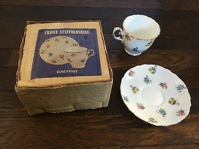 Crown Staffordshire Fine English Bone China Cup & Saucer Rose Pansy Floral Set