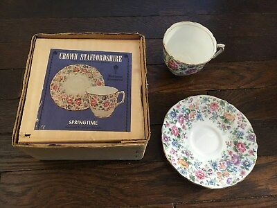 Crown Staffordshire Fine English Bone China Cup & Saucer Springtime Floral Set