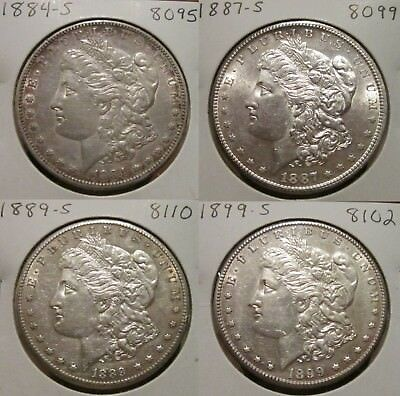 1884-S 1887-S 1889-S 1899-S Lot Of Four Morgan Silver Dollars! Great Details!