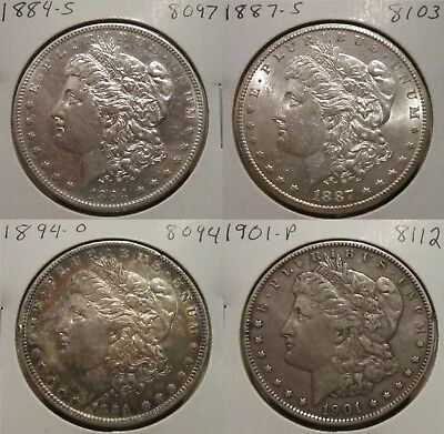 1884-S 1887-S 1894-O 1901-P Lot Of Four  Morgan Silver Dollars! Great Details!