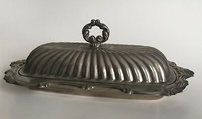 Vintage Ornate Leonard Silver Plate Butter Dish With Glass Insert