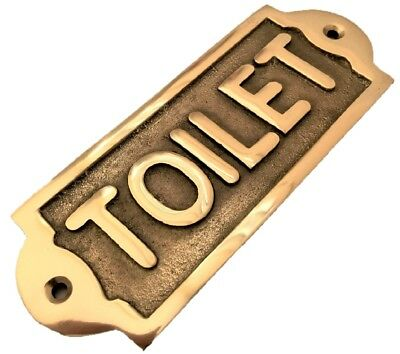 Retro Antique Style Hand Made Bath Room Toilet Loo Brass Sign Plaque Bathroom