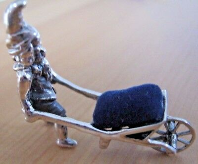 Unusual HM Sterling Silver Muller Berthold Style Gnome & Wheelbarrow Pin Cushion