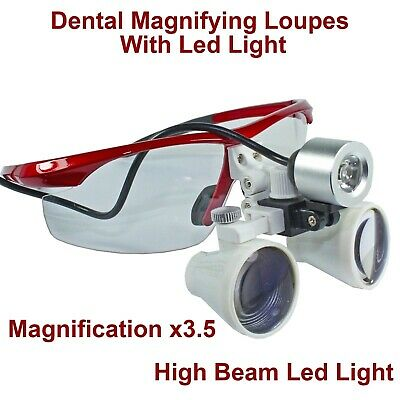 Dental Surgical Magnifying Glasses Binocular Loupes x3.5 Led Light Lamp Beam