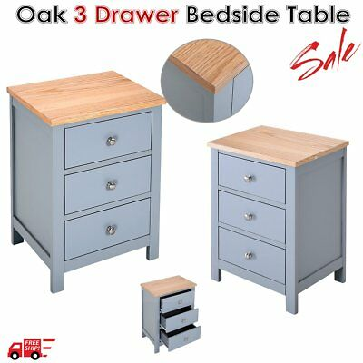 Bedside Table with 3 Drawer Cabinet Oak Grain Solid Wood Storage Night Stand HOT