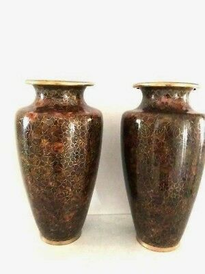 A Pair of Vintage Chinese Cloisonne Thousands Flowers Begonia Vases