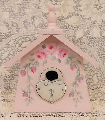 Hand Painted Shabby Pink Wood Bird House - Hp Roses - Hang Or Stand - Cottage