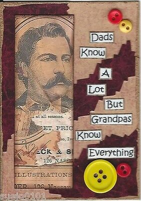 ACEO Art Card Collage Fathers Day Dads Dad Grandfathers Grandpa Grandad Buttons