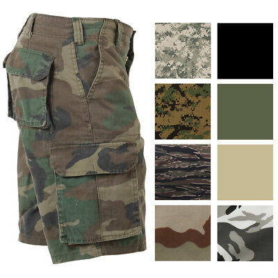 Vintage Camo Cargo Shorts, Military Paratrooper Camouflage Tactical Army