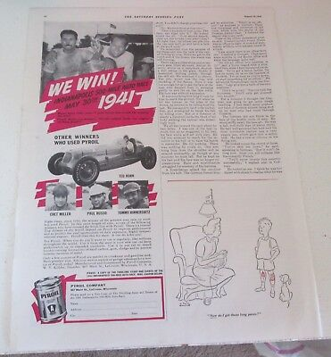 1941 original ad Pyroil Oil Mauri Rose Indy 500 Race Car Winner (driver) 1/2 pg