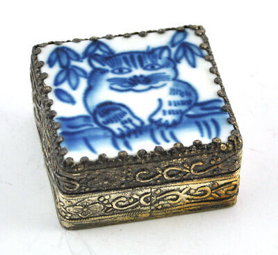 Vintage Chinese Old Porcelain Shard Box Handmade Tibetan Silver Cat Kitty B/W