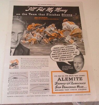 1941 original ad Alemite Lubricants Les Patrick Manager New York Rangers