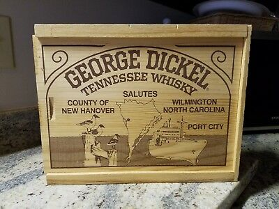 1986 George Dickel Commemorative Wood Box Saluting Wilmington NC