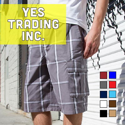 Shaka Mens Casual Cargo Shorts Plaid Shorts Checker Pattern Shorts Hip Hop Harem