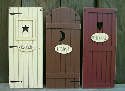 Set 3 Primitive Country Outhouse Door SignsWelcomePrivy Bathroom