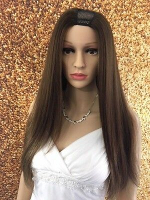 18 Inch 100% Human Hair Sewn U-Part Wig Handmade Silky Straight 4/27 Color #104