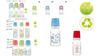 3 Set Baby Glass Bottle with Silicone Teat Anti-Colic  BPA Free Milk Formula