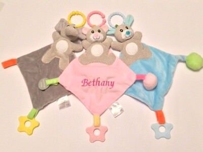 Personalised Soft Baby Comforter - Boy Girl Toddler Gift - Add Any Name teether