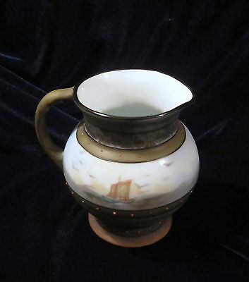 Royal Bayreuth Bavaria Mini Pitcher or Jug - Ships - Green Back Stamp - 3.5 in.