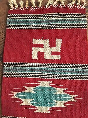 """Vintage Chimayo Wool Mat Whirling Log Hand Woven Rug Pre-1930's 17""""x7"""""""