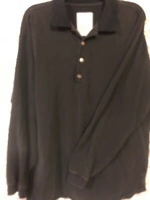 Lands Mens Shirt Size XL black Long Sleeve Polo Traditional Fit 100% Cotton