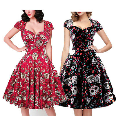 Vintage Retro 50s Swing Skull Gothic Dress Women PLUS SIZE Rockabilly Party Prom