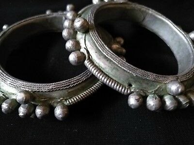 Morocco Antique-Tribal Ethnic - Pair of Bangle, Bracelet Vintage Silver-Old-rare