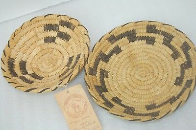 Lot of 2 Papago Native American Woven Baskets - Arizona - Covered Wells