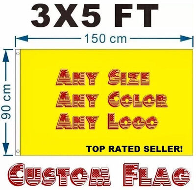 3x5FT Full Color Single Sided Polyester Custom Flag Banner Factory Direct  SALE!
