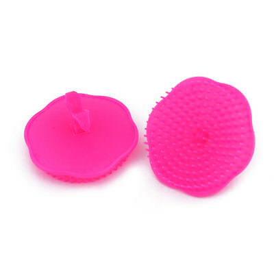 Home Plastic Floral Shaped Washing Hair Scalp Massage Brush Comb Rose Red 2pcs