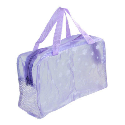 Travel Zipper Mesh Portable Flower Printed Wash Bag Pocket Purple Clear