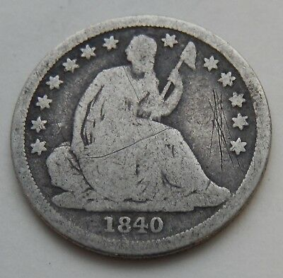 1840-O Seated Dime ~  Silver Coin  ~ Above Bow