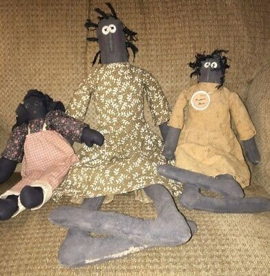 Vintage 3 Black Americana Cloth Dolls With Dresses