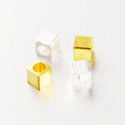 1000pcs Silver & Gold Brass Metal Beads Cube Loose Spacers Smooth Beading 3x3mm