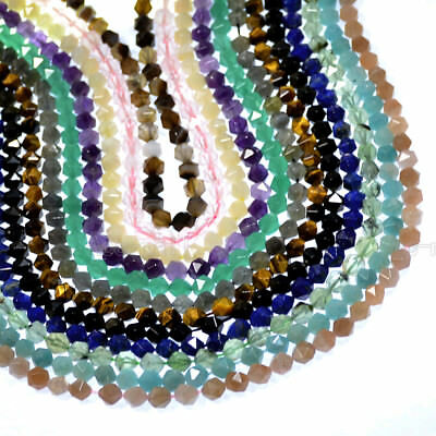 Natural Gemstones 24 Faceted Polygons Spacer Beads 7.5'' 6mm 8mm 10mm Wholesale
