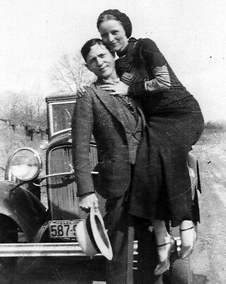New 11x14 Photo: Bonnie Parker and Clyde Barrow, Infamous Depression-Era Outlaws